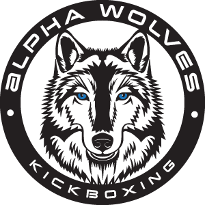 Alpha Wolves Kickboxing logo with blue eyed wolf
